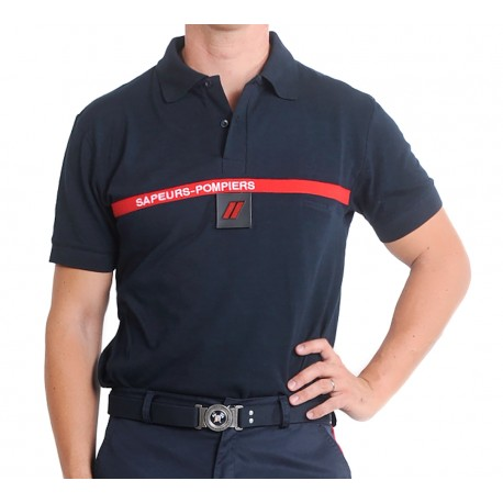 Polo marine bande rouge Sapeurs Pompiers